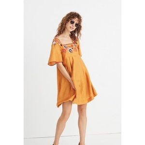 MADEWELL Embroidered Square Neck Mini Boho Dress